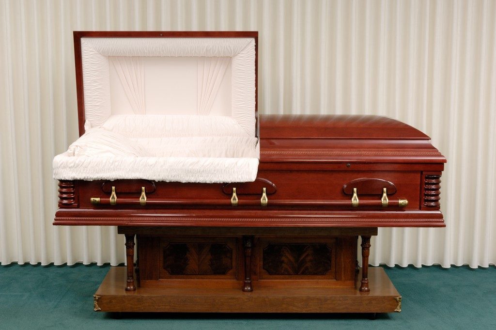 open wooden casket