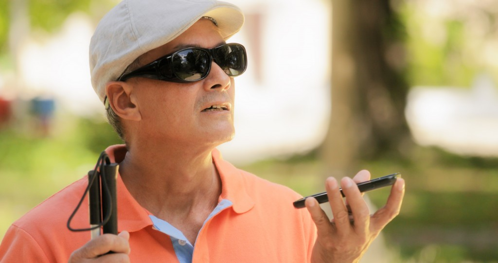blind man with smartphone